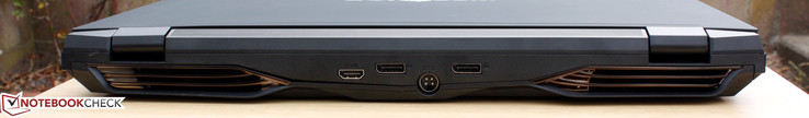 Rear: HDMI 2.0, 2x DisplayPort 1.2, Power adapter