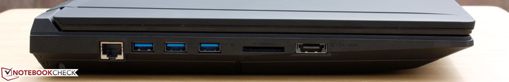 Left: Gigabit Ethernet, 3x USB 3.0, 6-in-1 SD reader, USB 3.0/eSATA combo