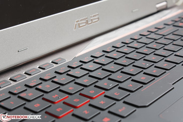 Familiar red backlit ROG keyboard