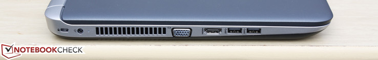 Left: Kensington Lock, AC adapter, VGA-out, HDMI-out, 2x USB 3.0