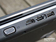 The bulky VGA, HDMI, and eSATA cables, as well as the USB are located at the rear.