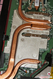 A large cooler bleeds off heat from the GPU and VRAM.
