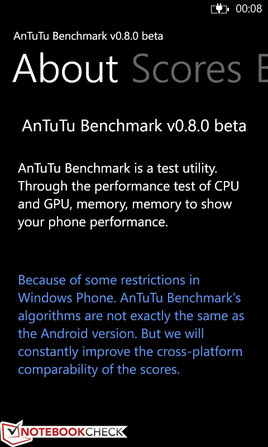 The AnTuTu Benchmark v0.8.0 beta is comparable with the Android version v2