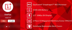 OnePlus One specs confirmed with Snapdragon 801 and Sony Exmor