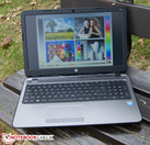 The HP's screen allows for outdoor use on a cloudy day.