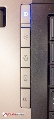 A row of shortcut keys above the keyboard.