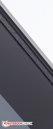 A thin strip of rubber protects the display panel.