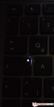 The caps lock key also lights up when activated.