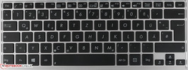 Chiclet-type keyboard with a standard layout