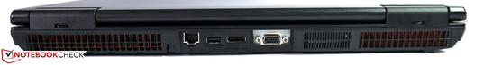 Rear: Gigabit LAN, USB 2.0, DisplayPort, VGA