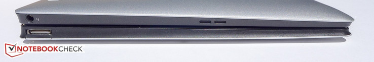 Left side: headphone jack (tablet); USB 2.0 port (keyboard dock)