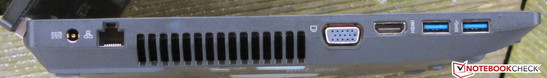 Left side: power-in, Gigabit-Ethernet, VGA, HDMI, 2x USB 3.0.