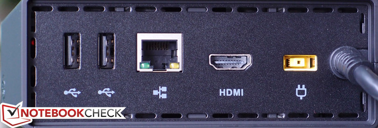 Rear: 2x USB 2.0, Gigabit Ethernet, HDMI, Charging port