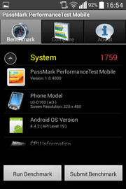 The PassMark Performance benchmark reveals the phone's model number among other things.