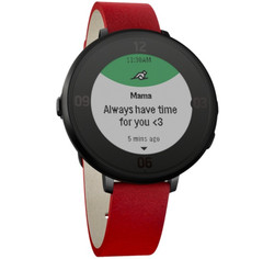 Pebble Time Round smartwatch black with flame red leather