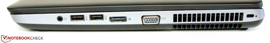 Right side: Combined stereo jack, 2x USB 3.0, DisplayPort, VGA-out, slot for a Kensington Lock