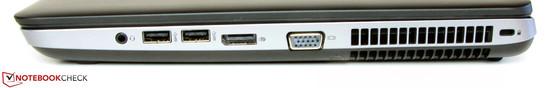 Lato destro: jack stereo combinato, 2x USB 3.0, DisplayPort, uscita VGA, slot per blocco Kensington