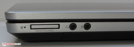 Front side: Memory card reader (SD, Memory Stick, Memory Stick Pro MMC), headphone output, microphone input