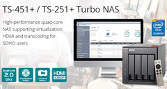 QNAP TS-251+ and TS-451+ Turbo NAS solutions with quad-core Intel Celeron