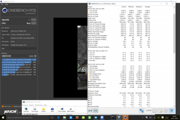 Cinebench R15@2.8 GHz stable, SoC@74 °C