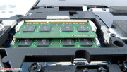 Two RAM slots can be accessed from the bottom, two are located under the keyboard