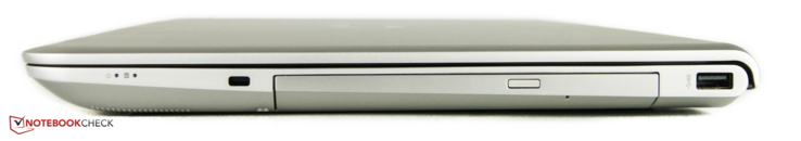 Right: Kensington lock, DVD drive, 1 x USB 3.0