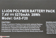 The battery has a capacity of 39 Wh.