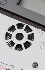 An opening is located underneath the keyboard the allows the cleaning of the fan to a limited extent.