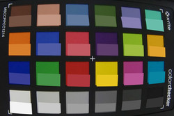 ColorChecker Passport: the target color is shown in the bottom half of the table.