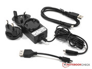 Power adapter with adapters, OTG cable and USB cable.