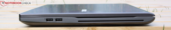 Right side: 2 x USB 2.0, Slot-In Blu-ray Reader