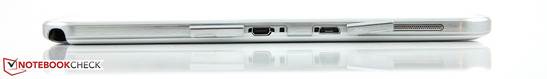 Right: S-Pen slot, micro-HDMI, micro-USB