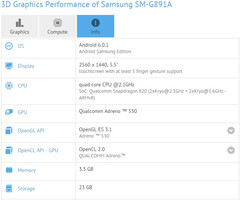 Samsung Galaxy S7 Active SM-G891A specs on GFXBench