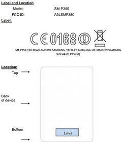 Samsung SM-P350 FCC listing shows back label positioning