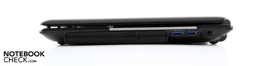Right: BluRay player (DVD/RW), 2 USB 3.0s, Kensington