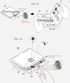 Samsung patent showing advanced foldable smartphone with multiple biometric ID forms