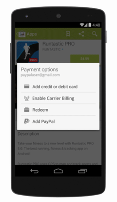 Google Play Store now accepts PayPal as a payment option