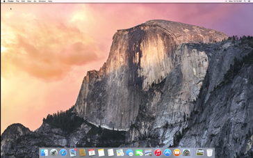 Yosemite home screen showing translucent dock and new icons