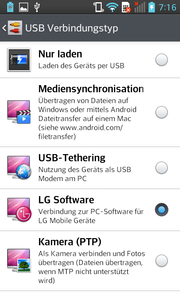 Connecting the smartphone to a PC opens up a selection box for a number of different options.