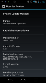 Android 4.0 is installed as the operating system.