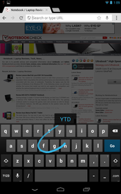 Standard Android keyboard with Swype support