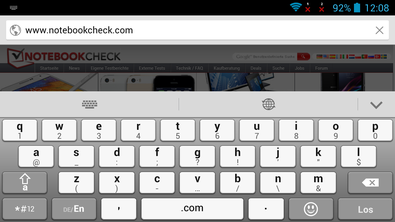 Keyboard in landscape format.