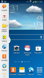 Home screen with opened multi-window bar.