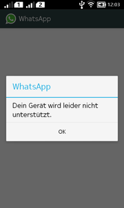 The installed WhatsApp-APK wouldn't run.