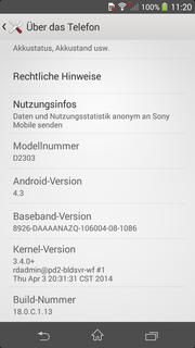 Android 4.3 is employed.