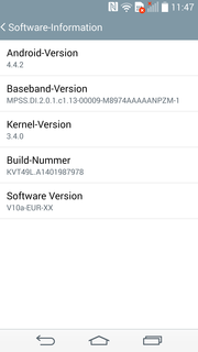 The LG G3 ships with Android 4.4.2.