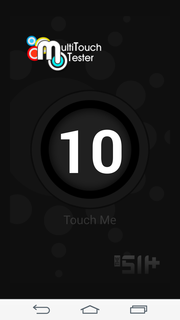The touchscreen supports multitouch with up to 10 fingers.