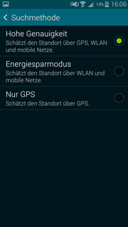 There are additional settings for the location besides the GPS: You can increase the precision with WLAN and the mobile network.