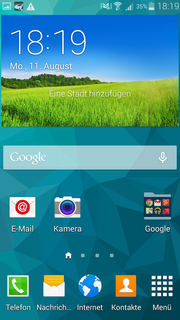 The TouchWiz UI is based on Android 4.4 and did not change compared to the Galaxy S5.