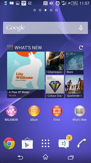 The home screen using Sony's interface.